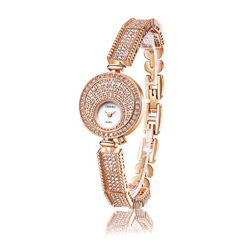 Time100 NEU Rund Strass Klein Zifferblatt Armbanduhr Quarzuhr Uhr Rosegold W50367L 02A