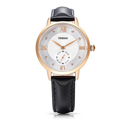 Time100 NEU Lederarmband Schwarz Qaurzuhr Wasserdicht Armbanduhr mit Strass W80099L 01A