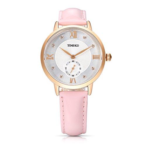 Time100 NEU Lederarmband Rosa Qaurzuhr Wasserdicht Armbanduhr mit Strass W80099L 03A