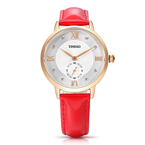 Time100 NEU Lederarmband Rot Qaurzuhr Wasserdicht Armbanduhr mit Strass W80099L 04A