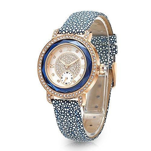 Time100 NEU Lederarmband Quarzuhr Wasserdicht Armbanduhr mit Strass Blau W80109L 02A