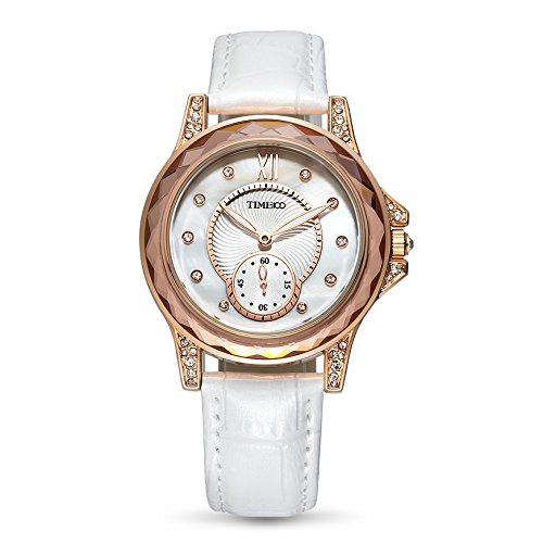Time100 NEU Lederarmband Quarzuhr Wasserdicht Armbanduhr Weiss Kaffee W80127L 03A