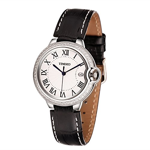 Time100 Quarzuhr mit Kalender Leder rund Schwarz Silber W50417L 01A