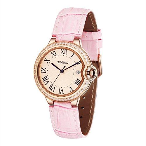 Time100 Quarzuhr mit Kalender Leder rund Rosa Gold W50417L 04A