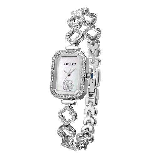 Time100 rautenfoermiges Zifferblatt mit Strass Kupfer kuerzeres Band Armbanduhr Quarz Analog Uhr W50370L 01A