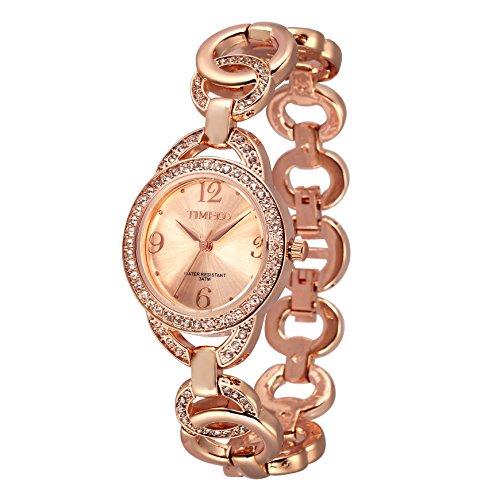 Time100 Zifferblatt mit Strass Legierung Armbanduhr Quarz Analog Uhr Pink Silber W50377L 03A