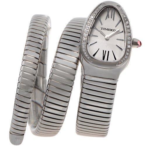 Time100 Zifferblatt mit Strass Stahlarmband Armbanduhr Quarz Analog Uhr Silber W50047L 01A