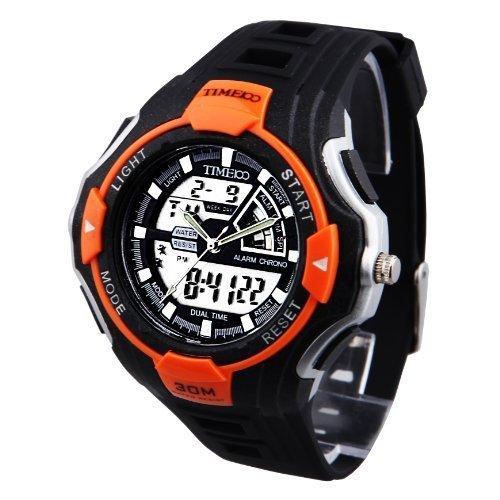 Time100 Doppel Zeit Anzeige Armbanduhr Analog Digital Sportuhr Funkuhren W40068M 05A