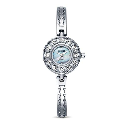 Time100 Engel Serie mit blaun Strassen und Hakenschloss Silber W50063L 01A