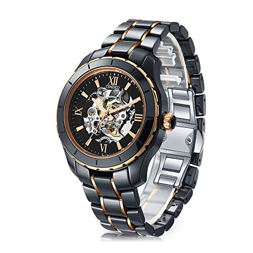 Time100 Quarz Chronograph Uhr Datum Analog Keramikarmband 5 Bar Wasserdicht Schwarz W50376G 01A