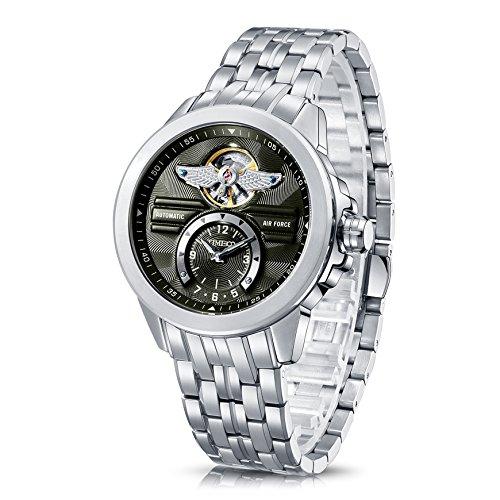 Time100 NEU Analog mechanische Armbanduhr Edelstahl Runde Gruen W60049G 02A