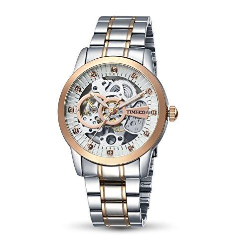 Time100 NEU Herrenambanduhr mechanische Automatikuhr Skelett Uhr Edelstahl Runde Zifferblatt rosegold W60042G 01A
