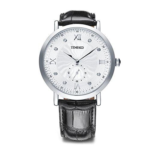 Time100 NEU Moderne Herrenarmbanduhr Chronograph Quarzuhr Wasserdicht Leder rund Weiss W80097G 01A