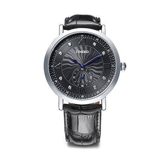 Time100 NEU Moderne Herrenarmbanduhr Chronograph Quarzuhr Wasserdicht Leder rund Schwarz W80097G 02A
