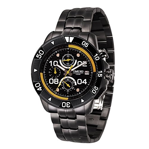 Time100 Herrenarmbanduhr Chronographuhr Quarzuhr Edelstahl Gelb 10 Bar Wasserdicht W70105G 02A