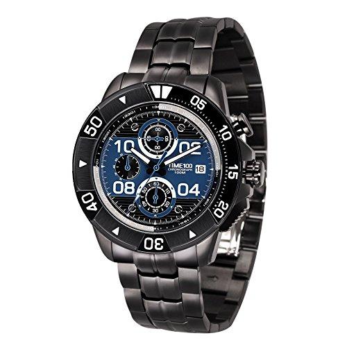 Time100 Herrenarmbanduhr Chronographuhr Quarzuhr Edelstahl Blau 10 Bar Wasserdicht W70105G 04A