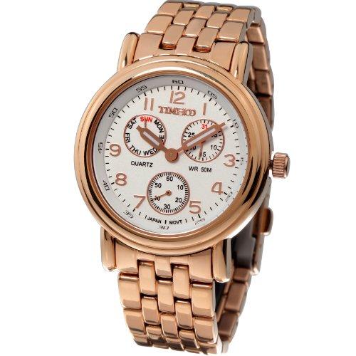 Time100 Herrenchronograph Uhr Armbanduhr Quarz Edelstahl Rosagold W70011G 03A