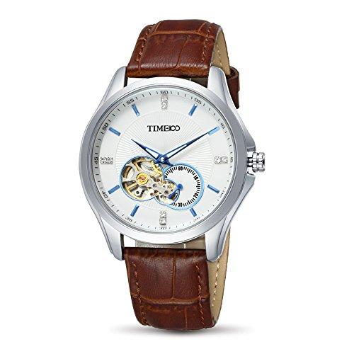Time100 Armbanduhr Skelett Uhr mechanische Automatikuhr Edelstahl Leder Braun W60017G 01A