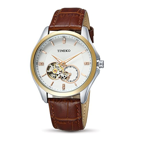 Time100 Armbanduhr Skelett Uhr mechanische Automatikuhr Edelstahl Leder Braun W60017G 03A