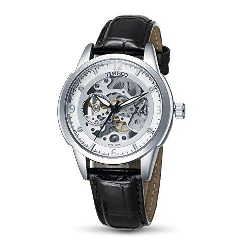Time100 Armbanduhr Skelett Uhr mechanische Automatikuhr Edelstahl Leder Weiss W60059G 01A
