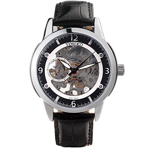 Time100 Armbanduhr Skelett Uhr mechanische Automatikuhr Edelstahl Leder Schwarz W60059G 03A