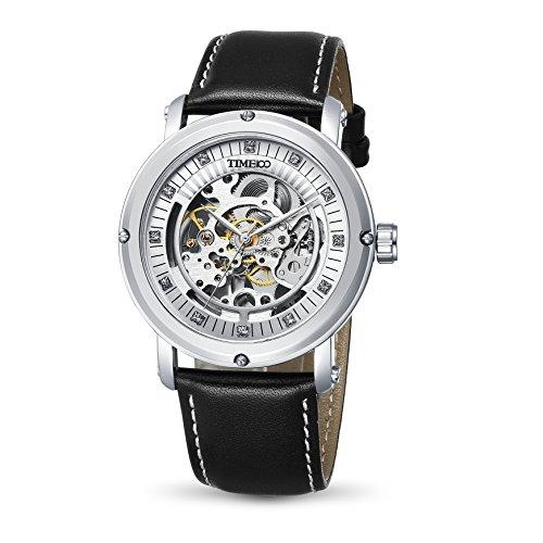 Time100 Armbanduhr mechanischen skelettierten Uhrwerk Leder W60040G 01A