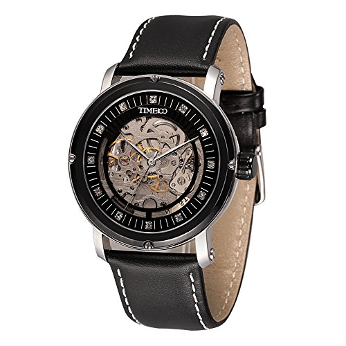 Time100 Armbanduhr mechanischen skelettierten Uhrwerk Leder W60040G 03A