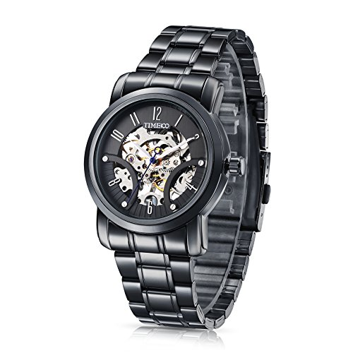 Time100 NEU Automatik Edelstahl Schwarz Wasserdicht Skelett Analog Uhr W60041G 02A