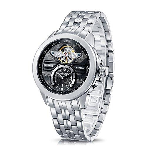 Time100 NEU Automatik Edelstahl Schwarz Uhr Wasserdicht Schwimmen W60049G 03A