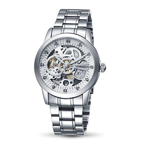 Time100 NEU Automatik Edelstahl mechanische Skelett Herrenambanduhr Uhr Edelstahl Runde Zifferblatt Silber W60042G 03A