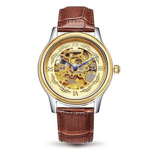 Time100 Automatik Lederarmband Armbanduhr Mechanisch Saphirglas Skelettuhr Wasserdicht Analog Braun W60015G 02A