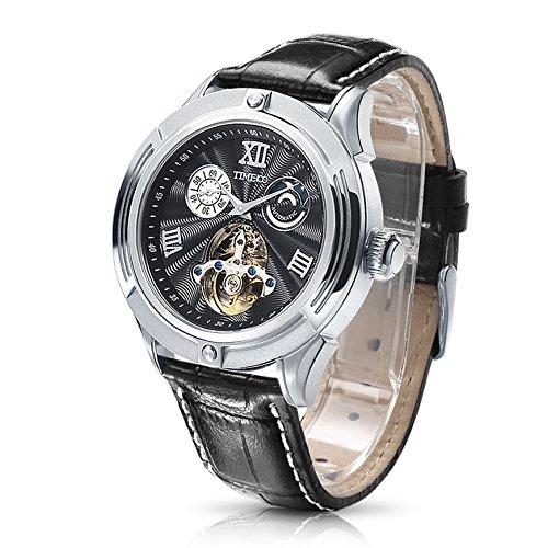Time100 NEU Automatik Lederarmband Chronograph skelett mechanische Uhr Armbanduhr mit schwarz Lederarmband 5 Bar Wasserdicht Schwarz W60053G 01A