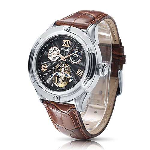 Time100 NEU Automatik Lederarmband Chronograph skelett mechanische Uhr Armbanduhr mit braun Lederarmband 5 Bar Wasserdicht Braun W60053G 02A