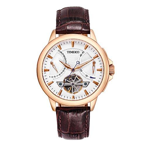 Time100 Automatik Lederarmband Mechanische Armbanduhr Saphirglas Rosagold W70035G 02A