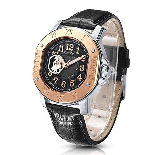 Time100 NEU Automatik Lederarmband Schwarz Analog skelett mechanische Uhr Armbanduhr mit schwarz Lederarmband 5 Bar Wasserdicht Rosegold W60054G 01A