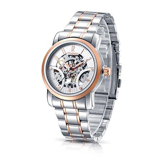 Time100 NEU Herren mechanische Armbanduhr Automatikuhr Skelett Analog Uhr Edelstahl Rosegold W60041G 03A
