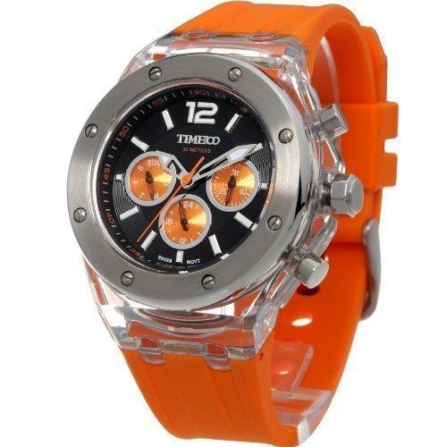 Time100 NEU Modische Sport Multifunktion Armbanduhr mit drei kleinen Zifferblaetter Chronographuhr Orange W70034L 02A