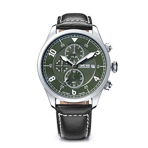 Time100 NEU Multifunktional echtes Lederband Moderne Herrenarmbanduhr Chronograph Quarzuhr mit Datum Gruen W80092G 02A