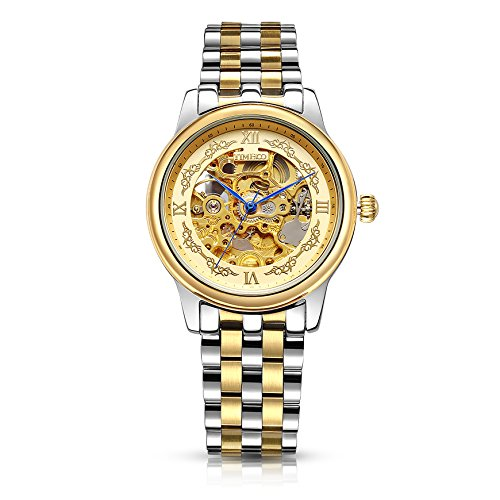Time100 Automatik Edelstahl Saphirglas Armbanduhr Mechanisch Skelettuhr Wasserdicht Analog Gold W60015G 01A