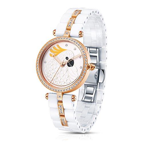 Time100 Damen Keramik Schnitzerei Armbanduhr Quarzuhr Papagei W50352L 04A