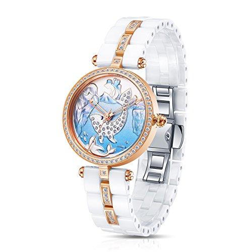 Time100 Damen Keramik Schnitzerei Armbanduhr Quarzuhr Wal W50352L 06A