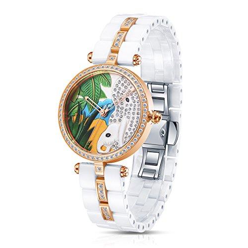 Time100 Damen Keramik Schnitzerei Armbanduhr Quarzuhr Elefant W50352L 08A