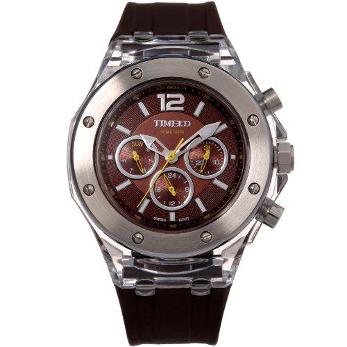 Time100 NEU Modische Sport Multifunktion Armbanduhr mit drei kleinen Zifferblaetter Chronographuhr Dunkelbraun W70034L 01AN