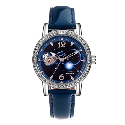 Time100 Sternbild Serien Damen Strass Automatikuhr Analog Skelett Mechanische Armbanduhr Leder Steinbock W80050L 10A