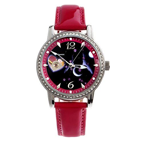 Time100 Sternzeichen Armbanduhr fuer Damen Leder Automatik Wasserdicht Analog Zwillinge W80089L 03AN