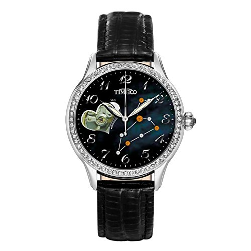 Time100 Sternzeichen Serie Leder Schwarz mit Steinen Uhr mechanische Automatik Strass Wasserdicht Loewe W60038L 05A