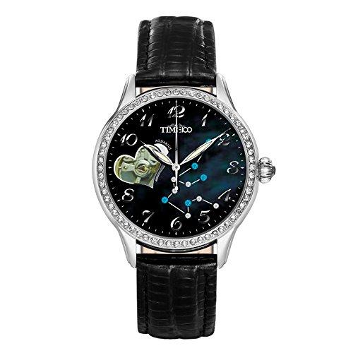 Time100 Sternzeichen Serie Armbanduhr Mechanische Automatik Leder Wassermaenner W60038L 11A