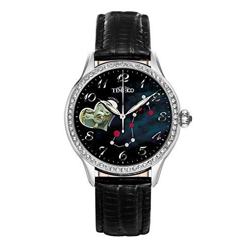 Time100 Sternzeichen Serie Lederarmband Schwarz Uhr automatik mit Strass Skorpion W60038L 08A