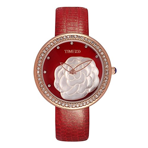 Time100 NEU Armbanduhr Junguhr Leder rund Rot W50279L 03A