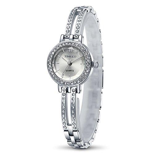 Time100 NEU moderne Armbanduhr Strass rund W50281L 03A